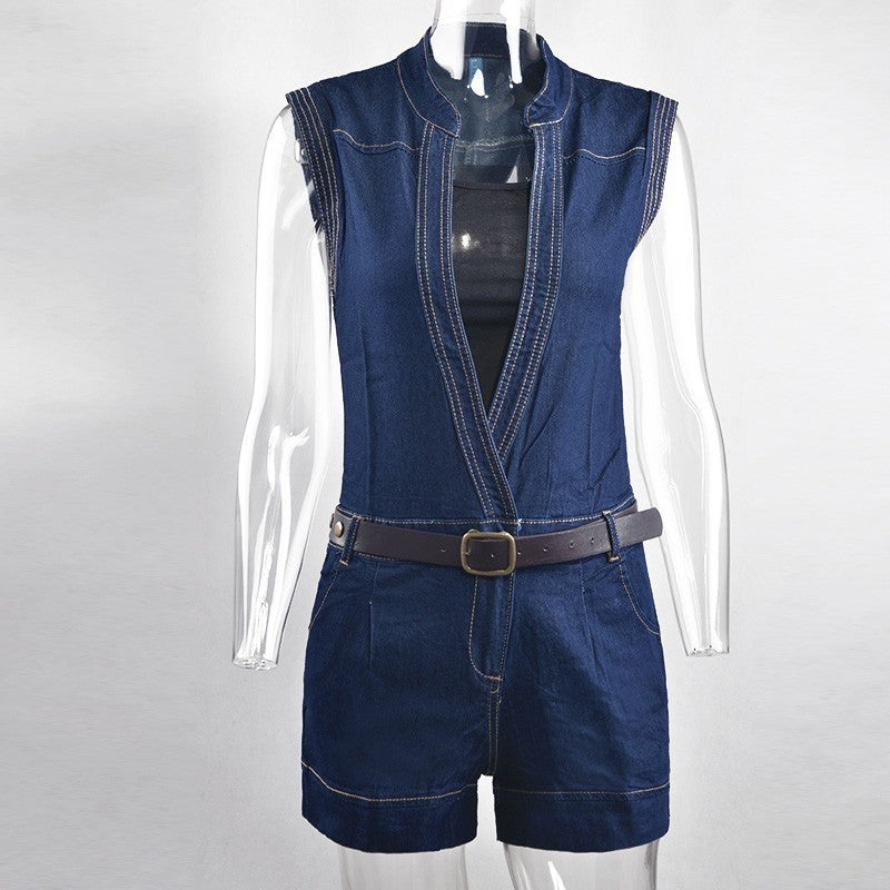 4c496521f5f Rompers Womens Jumpsuit 2016 Summer New Style Sexy Hot Denim Deep V-Neck  Sleeveless Short