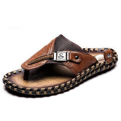 High Quality Handmade 100% Cow Genuine Leather Sandals Men Fashion Brand Shoes Men's Sandals Summer Slippers Beach - Shopatronics - One Stop Shop. Find the Best Selling Products Online Today