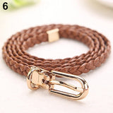 Women Braided PU Leather Narrow Thin Buckle Strap Waist Belt All-Match Waistband - Shopatronics
