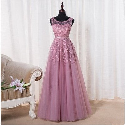 Robe De Soiree 2016 New Sweet Pink Lace Beading Long Evening Dress Bridal Scoop Sleeveless Transparent Banquet Sexy Prom Dress - Shopatronics
