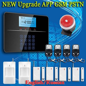 Upgrade Touch GSM PSTN Wireless 433MHZ SMS Home Burglar Security Alarm System Detector Sensor Kit Remote Control - Shopatronics