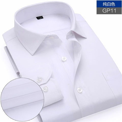 New Arrived 2016 mens work shirts Brand Long sleeve striped /twill men dress shirts white male shirts 4xl 13colors - Shopatronics