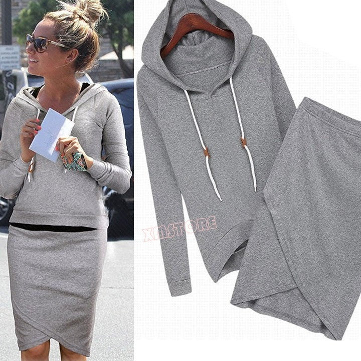 New Fashion Women Sport Suits Leisure Sweatshirts Spring Autumn Casual Tracksuit Top And Skirt 2 Piece SV004932 - Shopatronics
