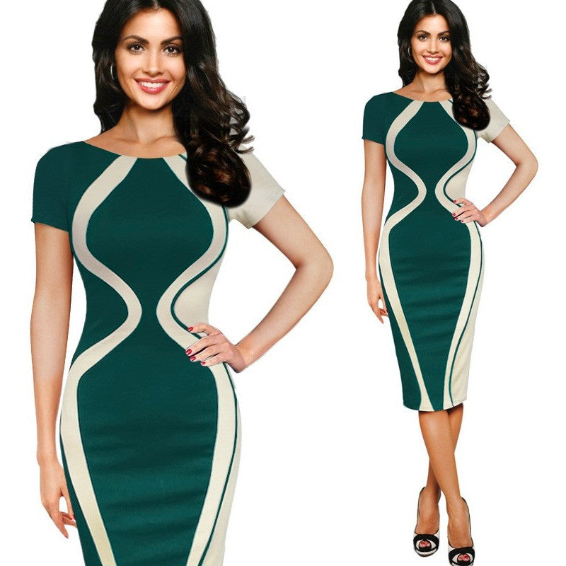 Vfemage Womens Elegant Optical Illusion Colorblock Contrast Patchwork O-Neck Bodycon Work  Casual Office Pencil Slim Dress 2355 - Shopatronics