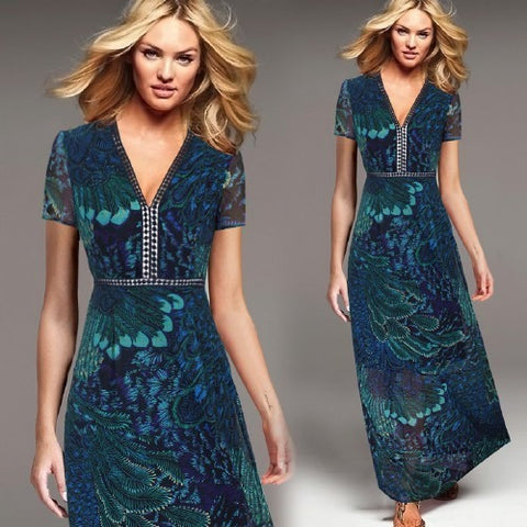 Vfemage Womens Elegant Vintage Chiffon Sexy V Neck Crane Print Charming  Fit and Flare Casual Party Prom Maxi Long Dress 2528 - Shopatronics - One Stop Shop. Find the Best Selling Products Online Today