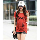 Letter Printed Lady Casual Cotton T-Shirts Large Size XL-4XL New O-Neck Short Sleeve Women Fashion Loose Tees & Tops - Shopatronics