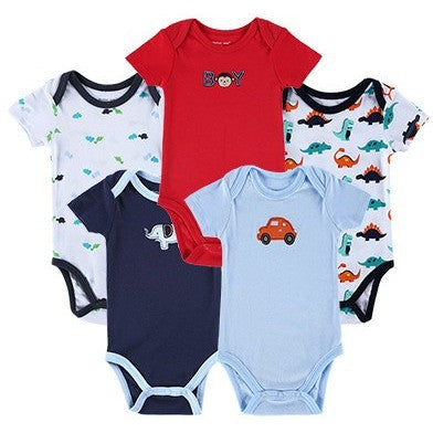 5f16f8ee3 Luvable Friends 5pcs  lot Baby Romper Hanging Blue Short Sleeve New ...