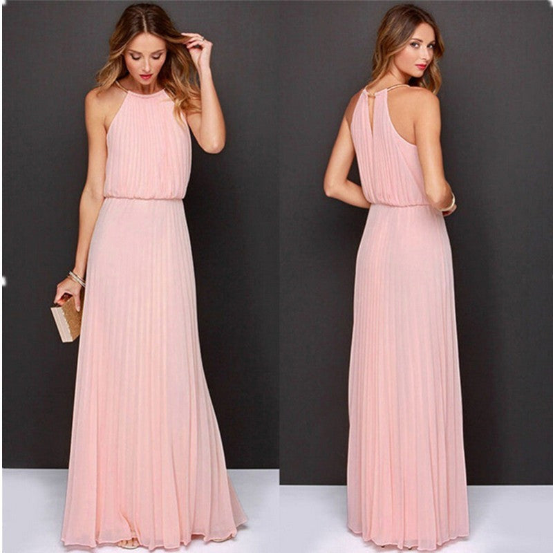 Summer Women Sexy Long Party Dresses 2016 Sleeveless Elegant Casual Pleated Chiffon Maxi Dress Vestido de festa New Plus Size - Shopatronics