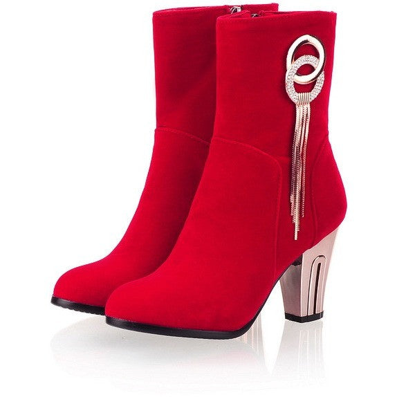 Plus Size 34-43 New 2016 Autumn Spring Sexy Women Boots Round Luxury Tassel Thick High Heel Boot Fashion Black Red Women Shoes - Shopatronics - One Stop Shop. Find the Best Selling Products Online Today