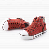 Fashion Size 25-37 Children Shoes Kids Canvas Sneakers Boys Jeans Flats Girls Boots Denim Side Zipper Shoes - Shopatronics