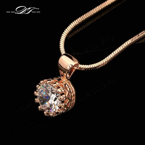 Vintage Crown CZ Diamond Necklaces &Pendants 18K Silver/Rose Gold Plated Fashion Brand Jewelry/Jewellery For Women Chain DFN390M - Shopatronics