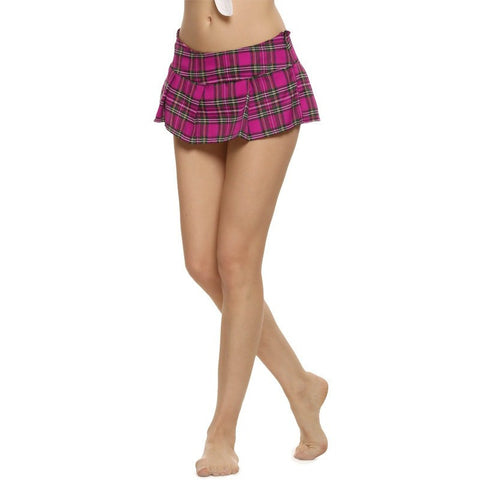 Women Fashion Sexy Lady Schoolgirl Cosplay Sleepwear Plaid Night Super Mini Pleated Skirt Short Skirt size S M L XL XXL - Shopatronics