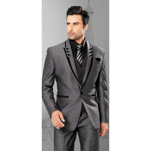New Arrival Groom Tuxedos Gray Men's Suit Peak Lapel Groomsmen Mens Wedding Suits Prom Suits (Jacket+Pants+Vest+Tie) - Shopatronics - One Stop Shop. Find the Best Selling Products Online Today