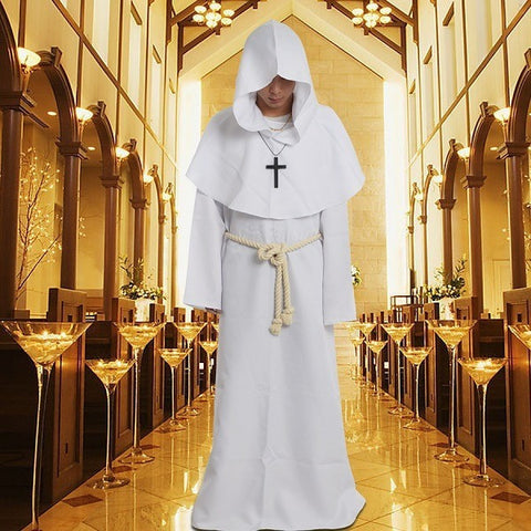 1pc Medieval Costume Man Vintage Renaissance Monk Cosplay Cowl Friar Priest Hooded Robe Rope Cloak Cape Clothing - Shopatronics - One Stop Shop. Find the Best Selling Products Online Today