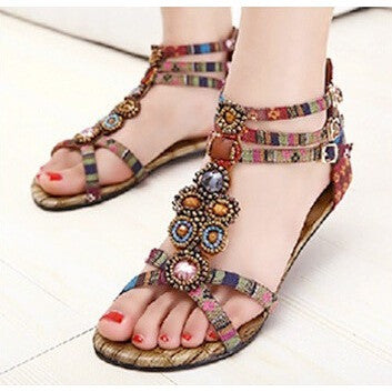SUMMER STYLE Flat Sandals Ankle T-strap Fashion Trend Sandals Bohemia Nation Flat Beaded sandals Hot sale - Shopatronics - One Stop Shop. Find the Best Selling Products Online Today