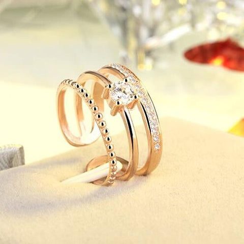 Three Layers Zircon Ring For Men/Women CZ Crystal Ring Band Jewerly Accessories Vintage Simple Design - Shopatronics