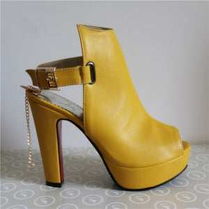 Sale Promotion Novelty Shoes Women Pumps Spring Peep Toe Gladiator Chunky High Heels Platform Female Chains Sequined Yellow - Shopatronics