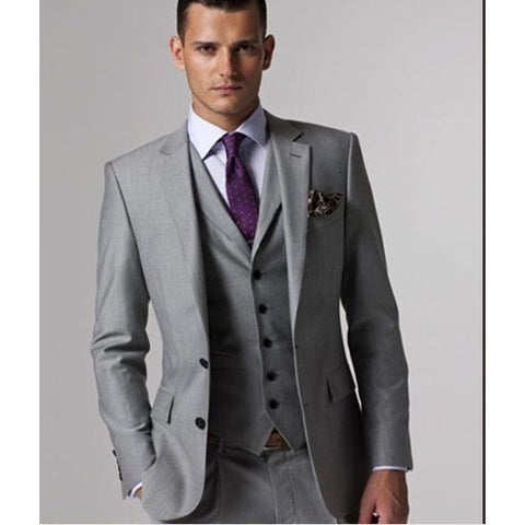 Custom Slim Fit Side Slit Light Gray Two Buttons Notch Lapel Groom Tuxedos Men Suits Man Business Suit Jacket+Pant+vest+tie - Shopatronics - One Stop Shop. Find the Best Selling Products Online Today
