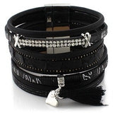 New Arrival Fashion Multilayer Rhinestone Leather Tassel Bracelet Bangle Magnetic Jewelry for Women pulseira feminina Friendship - Shopatronics - One Stop Shop. Find the Best Selling Products Online Today
