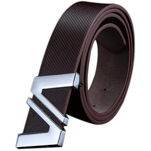 Men/Women Automatic Letter Buckle Leather Waist Strap Belts Buckle Belt - Shopatronics