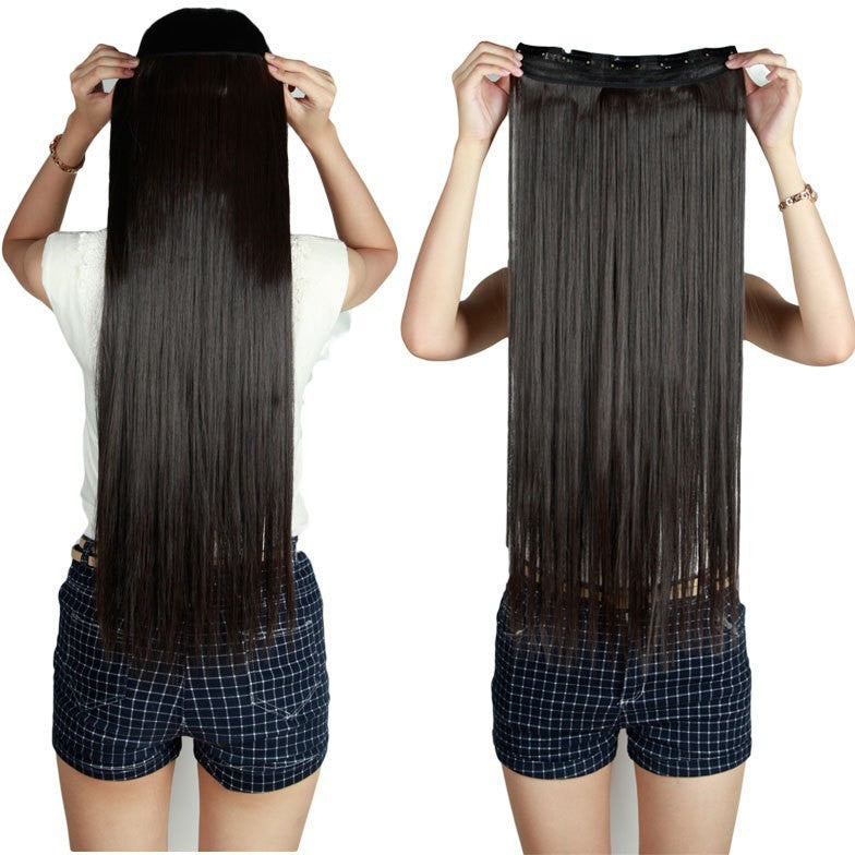 Natural Straight Hair Clip in on Hair Extensions 26 inch 66cm Length super long blonde hair Black Dark Light Brown hairpiece - Shopatronics