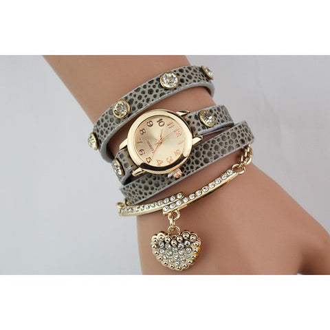 Hot Sale Fashion Luxury Heart Pendant Women Watches Women Bracelet Watch Women Wristwatches Relogio Feminino Montre Femme Reloj - Shopatronics