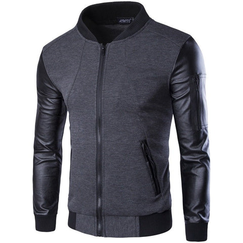 Men Hoodies Patchwork Leather Sleeve Fashion Hoodies Men Jacket Coat Brand Sweatshirt Sports Suit Pullover Tracksuits Masculino - Shopatronics