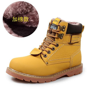 Super Warm Men's Winter Leather Boot Men Outdoor Waterproof Rubber Snow boots Leisure Martin Boots England Retro shoes for mens - Shopatronics