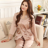 Lovers Sleepwear Silk Pajamas Set Spring Autumn Length Pants Leisure Lounge Set Women Men Champagne Pajamas M,L,XL,XXL,XXXL - Shopatronics - One Stop Shop. Find the Best Selling Products Online Today