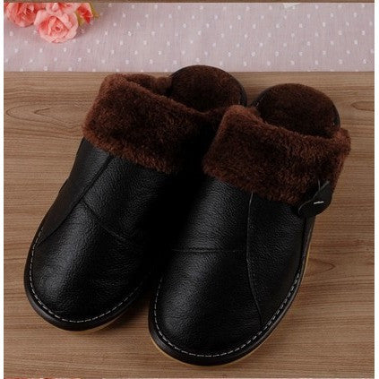 Winter Genuine Leather House Slippers Woman/Man Couple Slip-Resistant Platform Warm Terlik Big Size - Shopatronics - One Stop Shop. Find the Best Selling Products Online Today
