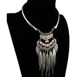 Fashion Bohemian Gypsy Colar Vintage Collier Maxi Statement Necklaces & Pendants Beads Leaf Tassel Choker Necklace Collares - Shopatronics