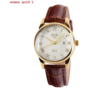 New Brand Quartz Watch lovers Watches Women Men Dress Watches Leather Dress Wristwatches Fashion Casual Watches Gold 1/pcs - Shopatronics