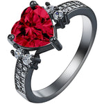 white red green blue Love jewelry vintage black gun promise Rings lover Romantic czech diamond Heart Engagement Ring for women - Shopatronics