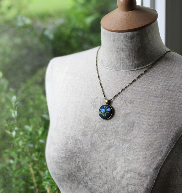 Blue Rose Necklace, Small Pendant, Garden Gift