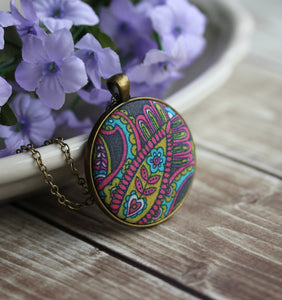 Paisley Necklace, Floral Fabric Hippie Jewelry