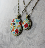 Cute Necklace With Colorful Floral Fabric