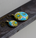 Retro Necklace, Chartreuse Green And Blue Floral Fabric Pendant