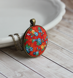 Vintage Fabric Pendant, Red Floral, Small Or Large