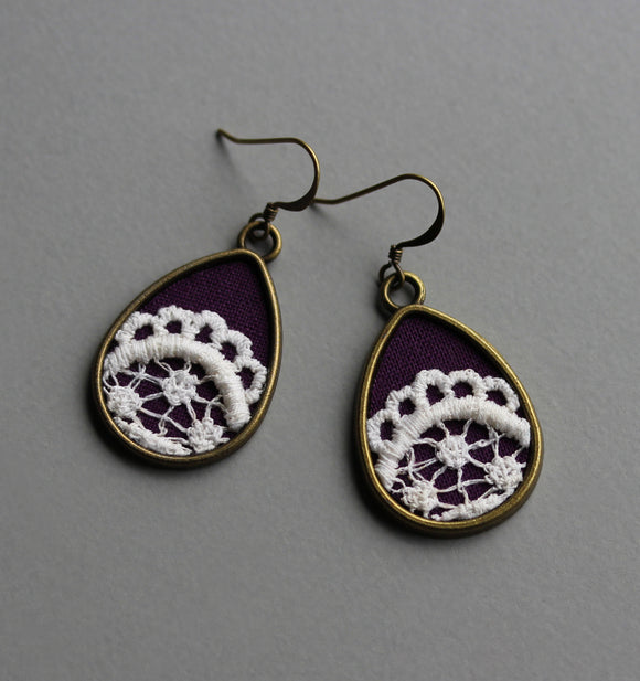 Purple Teardrop Earrings, Boho Vintage Lace Jewelry