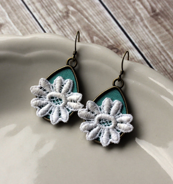 Lace Earrings In Mint Green Teardrops