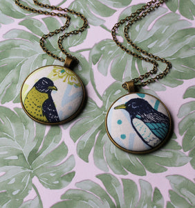 Bird Necklace, Pick Your Favorite Fabric