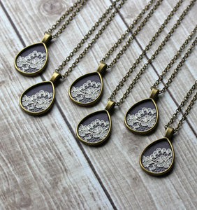 Teardrop Lace Necklace Bridesmaid Jewelry Gift Set, Gray, Ivory