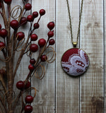 Burgundy Boho Necklace With Vintage White Lace