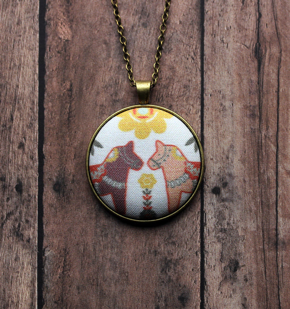 Swedish Dala Horse Necklace