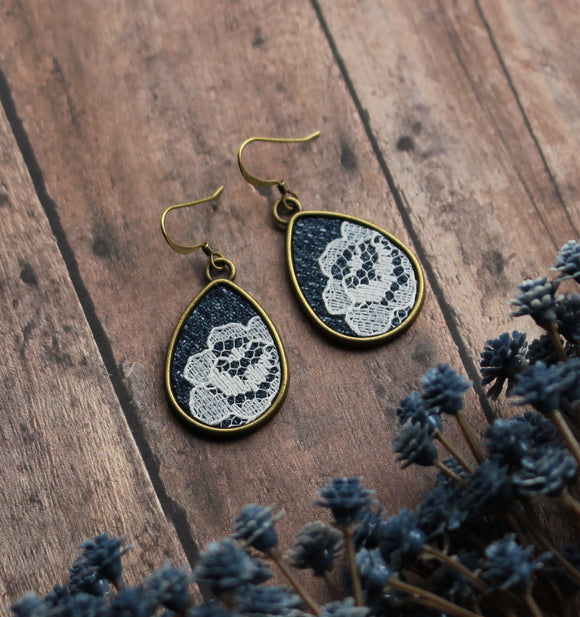 Denim And Lace Earrings, Unique Jewelry Gift