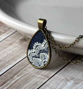 Denim And Lace Jewelry, Unique Gift For Her
