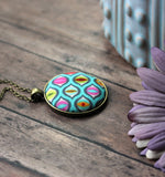 Cat Eyes Pendant, Colorful Fabric Jewelry