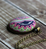 Colorful Boho Necklace, Pink, Green, Navy
