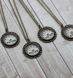 Bridesmaid Jewelry Gift Set, Vintage Lace Pendants