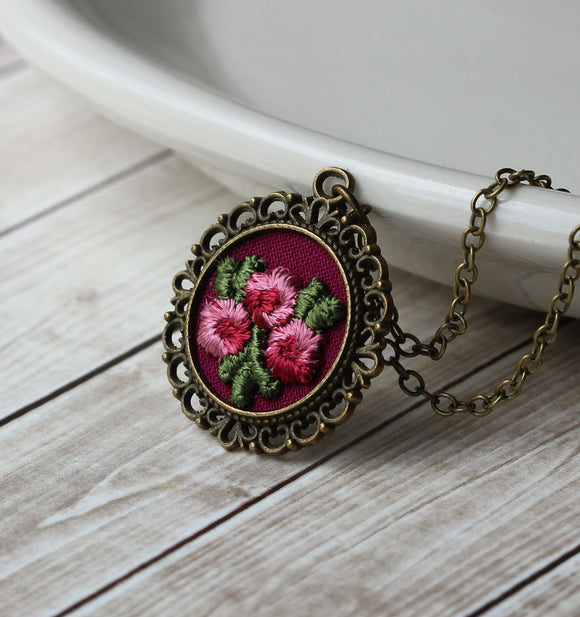 Small Rose Necklace, Burgundy And Pink